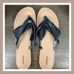Torrid Tan & Black Sandals | Size 12W